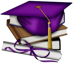 This image features a purple mortar board, a gold tassel and a diploma on a stack of books