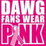 Dawg Fans Wear Pink logo.  The I in Pink is a pink ribbon for Breast Cancer Awarness.
