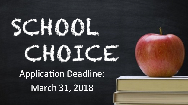 In this image, the words School Choice Application Deadline March 32, 2018 appear in white over a black background.  There is also an apple that sits on two books in the picture.
