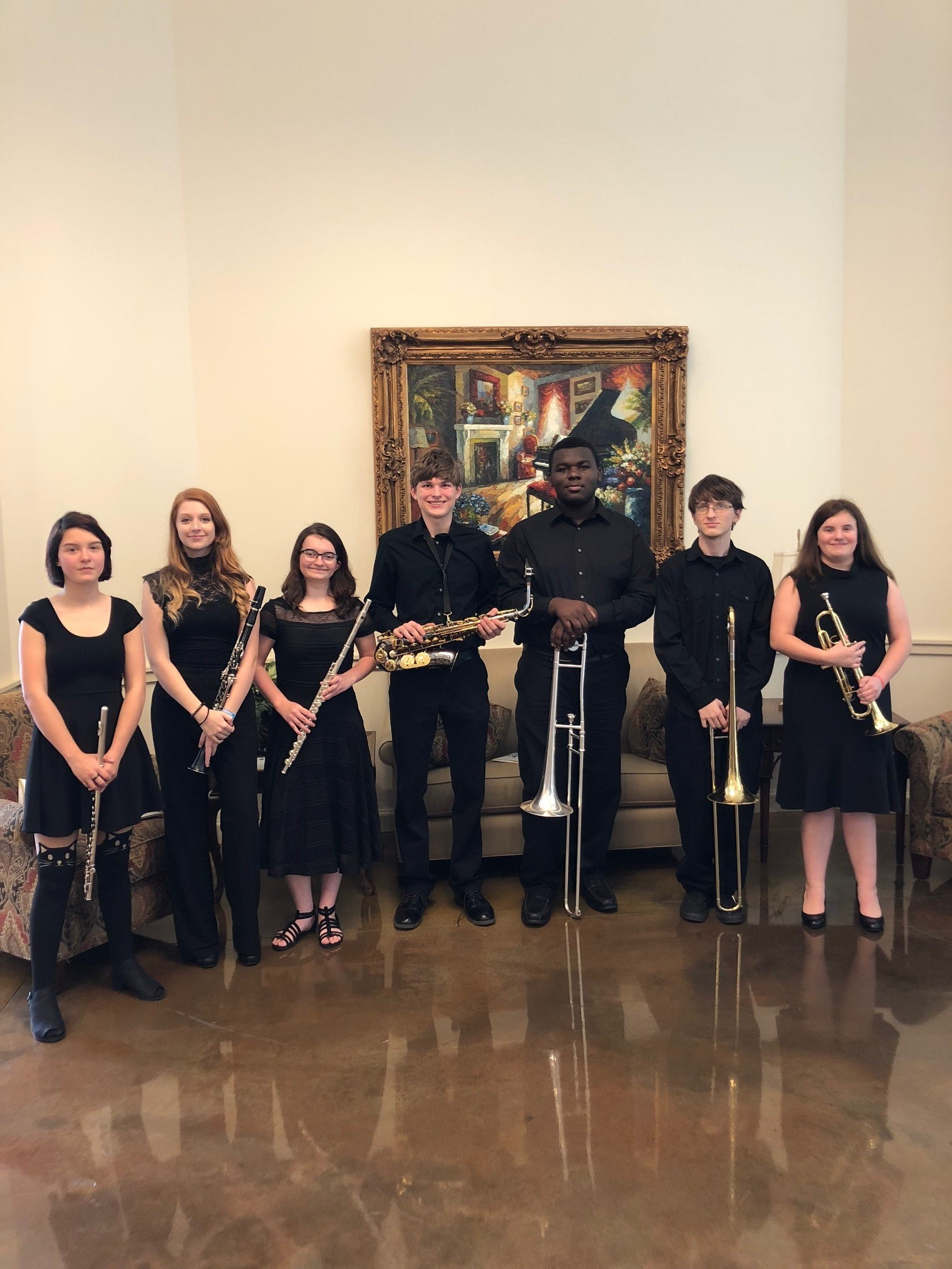 On Saturday, January 27th, seven students represented MHS in the FBA District 2 Honor Band.  These students were nominated by MHS Band Director, Mrs. Alissa Wayman.  The students then had to audition for a judge and be selected to perform with the band.  The students practiced all day Friday, as well as Saturday morning at the First Baptist Church in Chipley.  The honor band was comprised of students from eleven area schools.  Congratulations to these students!     Hannah Autrey, Clarinet     Barbara McAllister, Flute     Carmalynn McAllister, Trumpet     Chase Meadows, Alto Saxophone     Jake Moss, Trombone     Marci Resendiz, Flute     Carlos Staley, Trombone