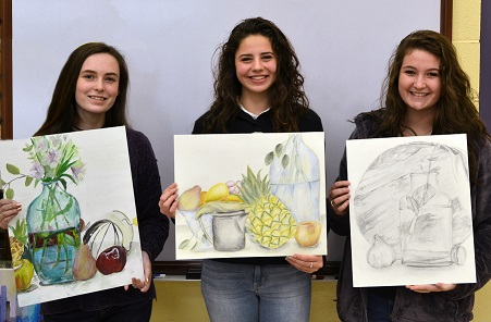 On-Site Art Winners - Madison Rogers - 1st Place in Acrylic Painting; Natalie Sims - 1st Place in Colored Pencil Drawing; and Madison Retherford - 2nd Place in Pencil Drawing