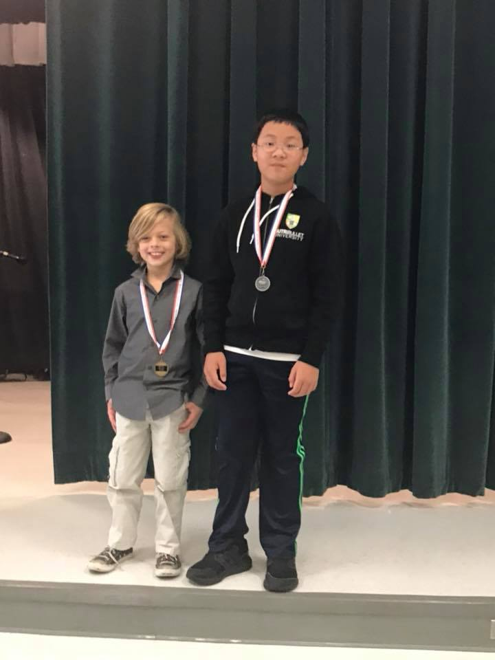 Davis Riley and William Peng, winners of Spelling Bee