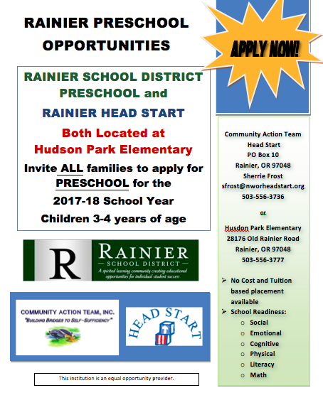Rainer Preschool Opportunities