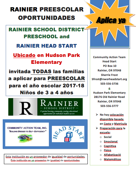 Rainer Preschool Opportunities (Spanish)