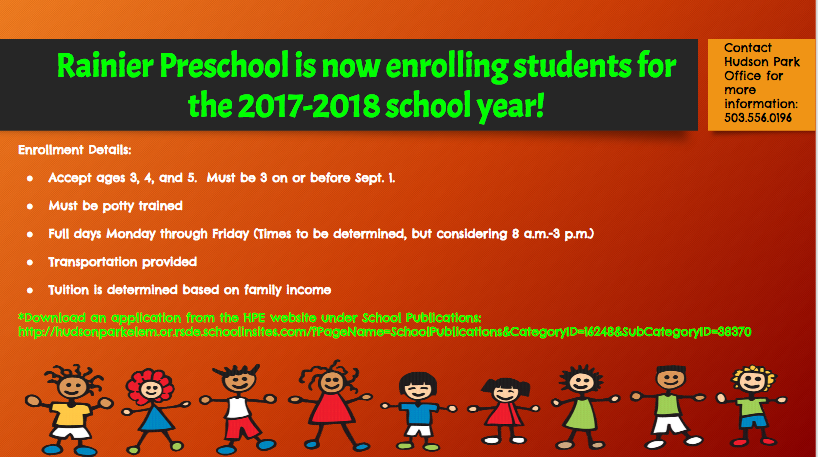 Rainer Preschool 2017-2018 Enrollment