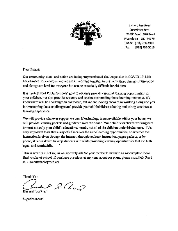 Covid 19 letter to parents