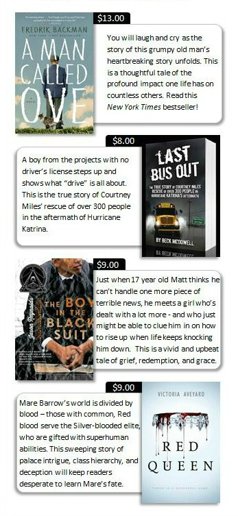 A Man Called Ove, Last Bus Out, The Boy in the Black Suit, Red Queen