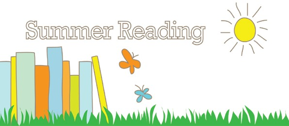 Summer Reading image with books, grass & butterfiy