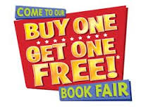 Cartoon image of a yellow words on a blue and red background that read 'Come to our book fair. buy one get one free!'