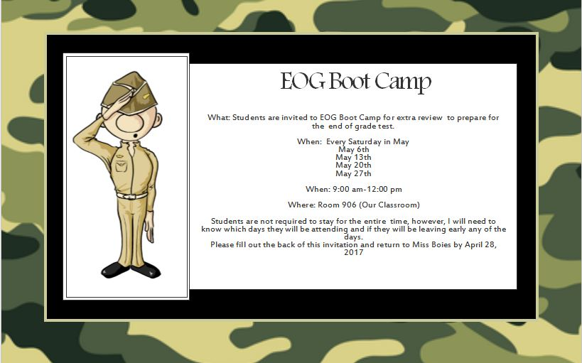 EOG Boot Camp Invitation. Camouflage background with saluting soldier