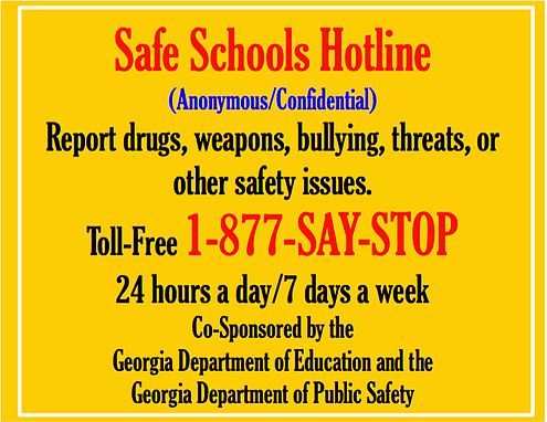 Safe Schools Hotline: 1-877-SAY-STOP