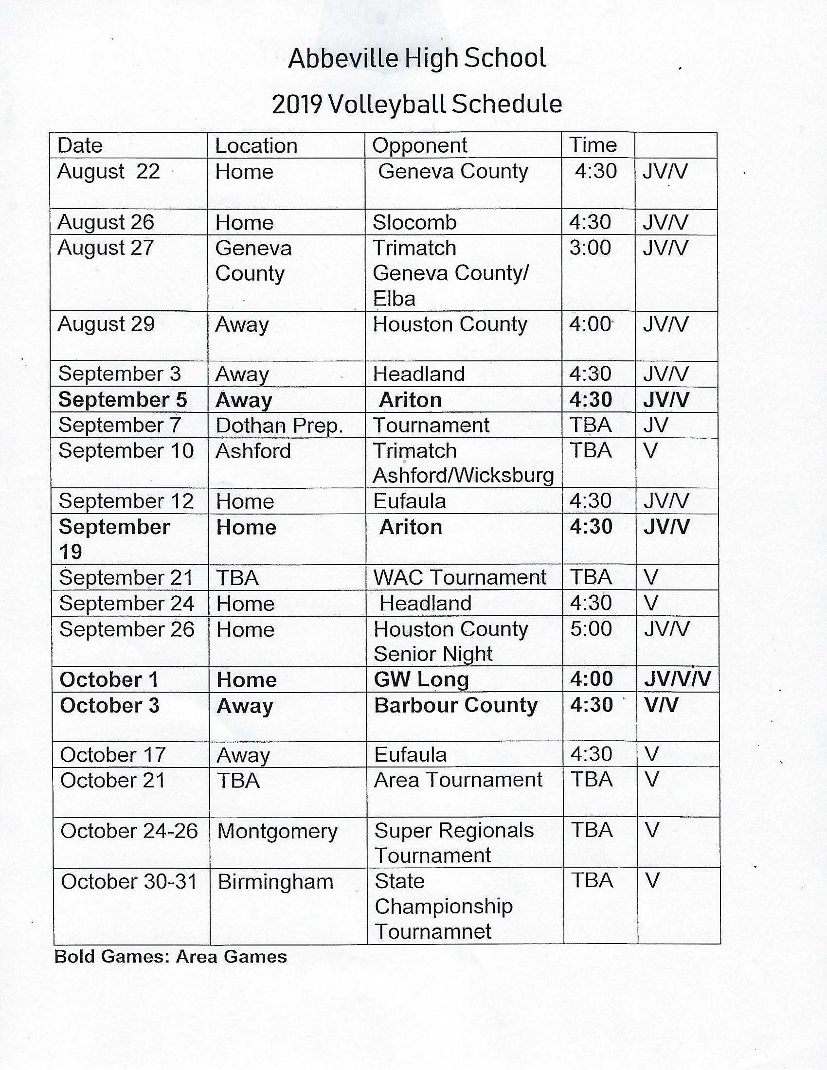 Abbeville High School: Latest News - AHS Volleyball Schedule