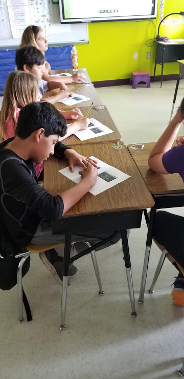 Students working on poems