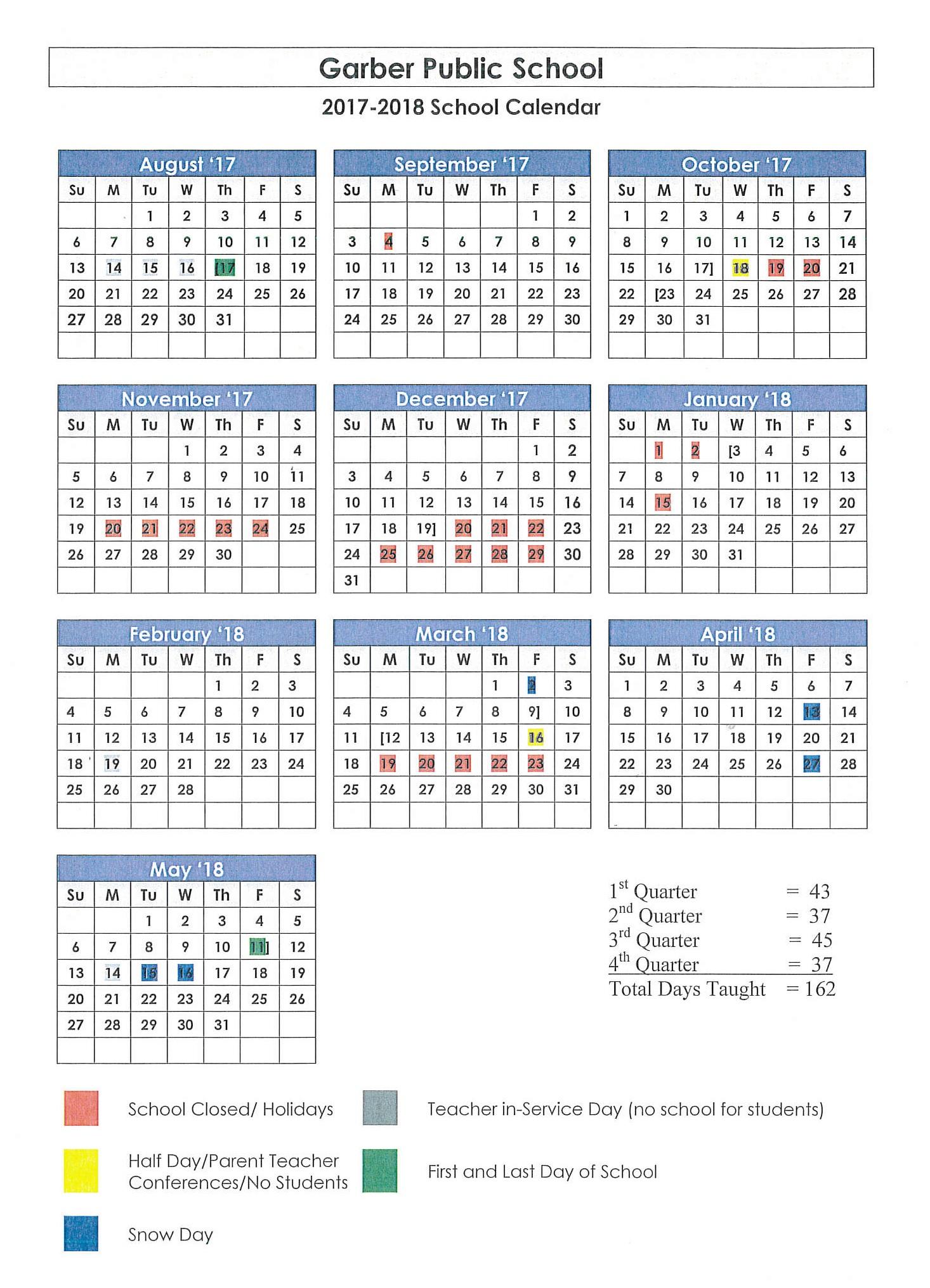 17-18 School Calendar
