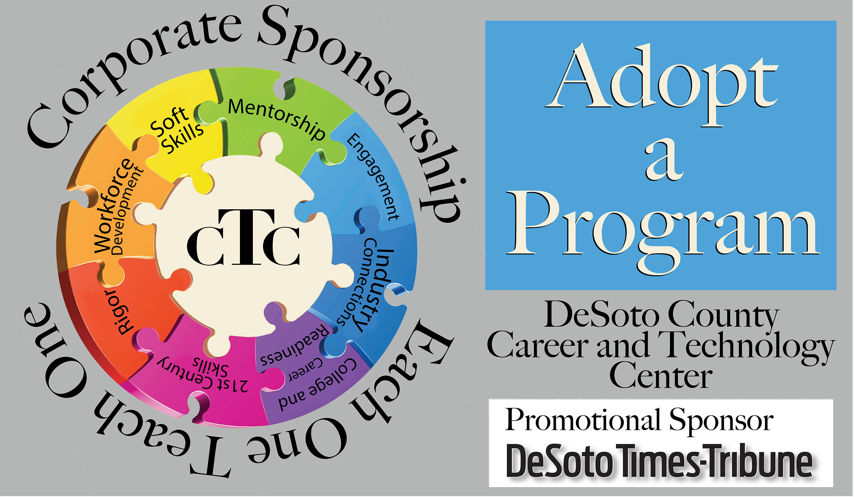 Adopt a Program Image - It displays how to become a corporate sponsor or donate time through the Each One Teach One Initiative