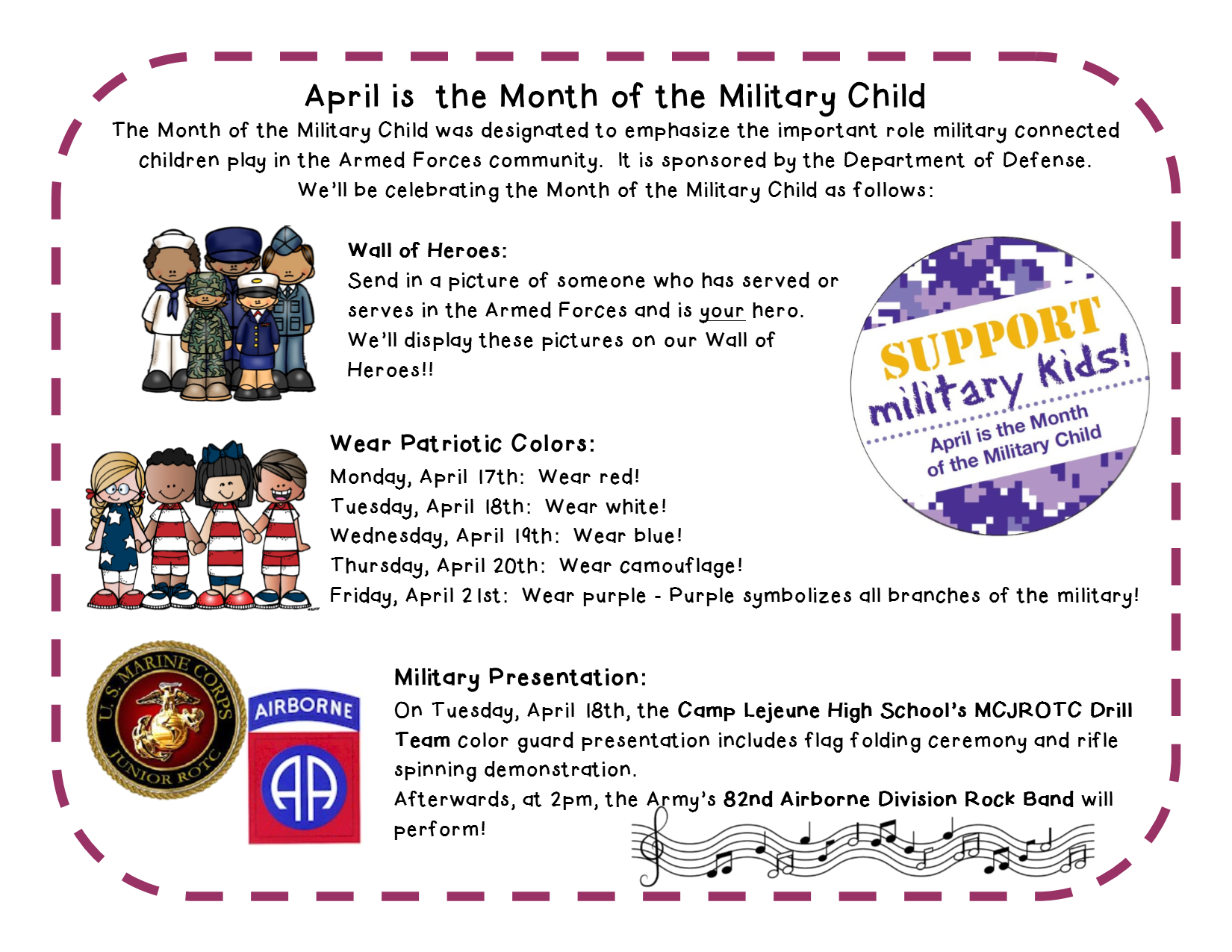 April is the Month of the Military Child events
