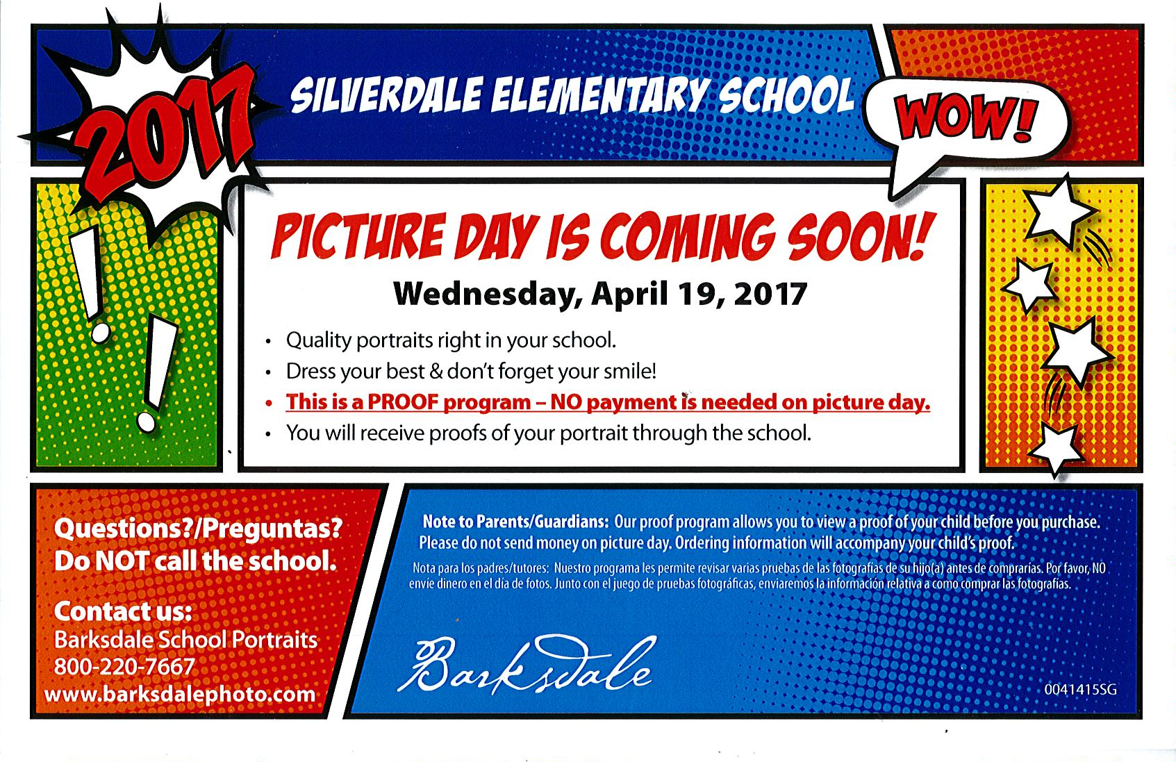 Picture Day is Wednesday, April 19th