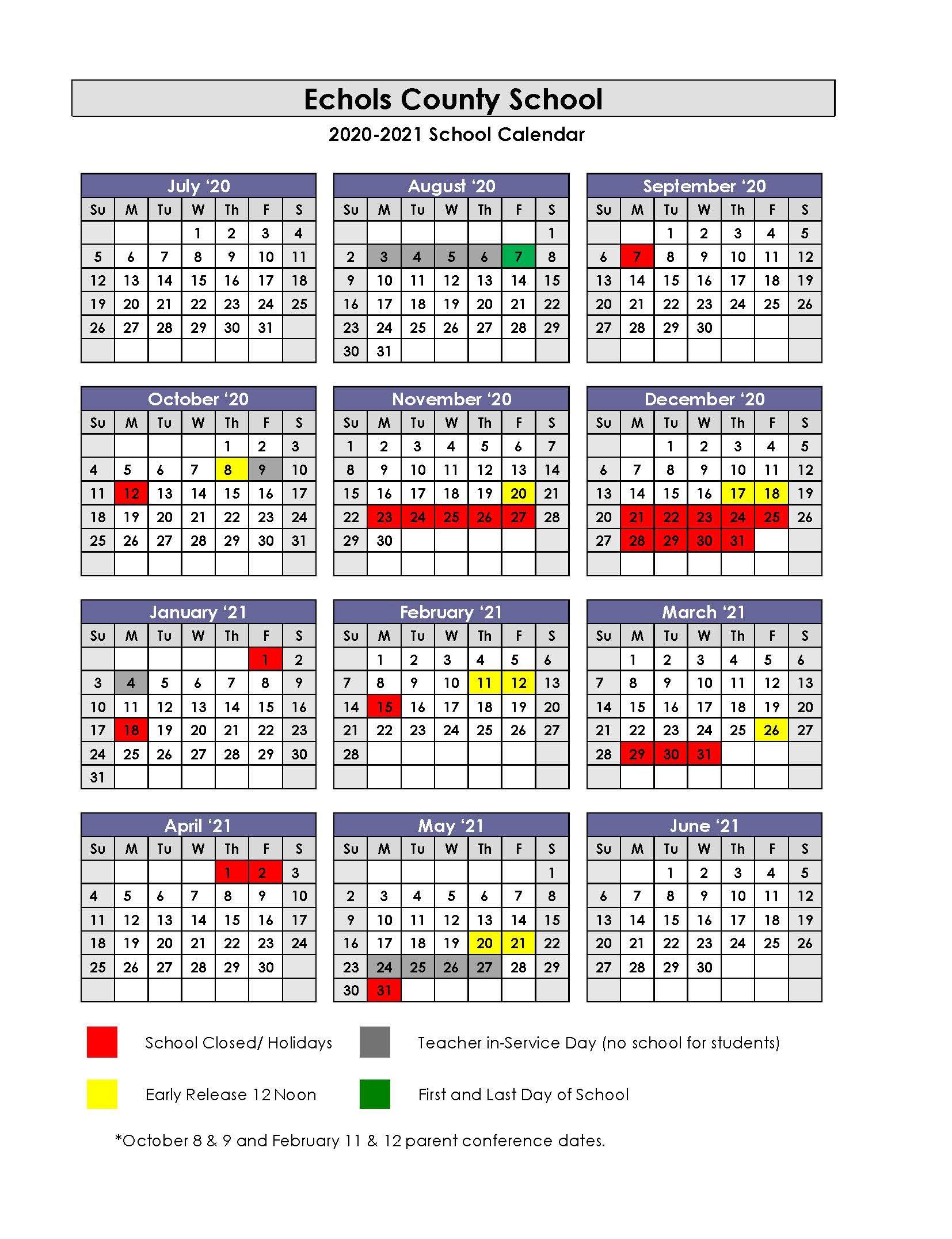 FY21 Echols Yearlong School Calendar