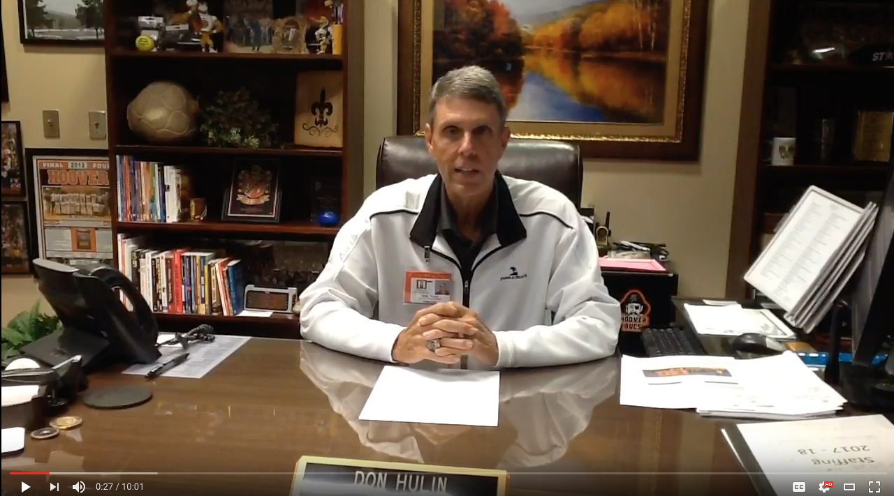YouTube video screenshot - Principal Don Hulin Video Message