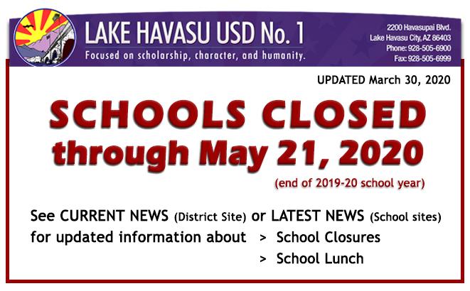 ALERT: Schools Closed through end of school year