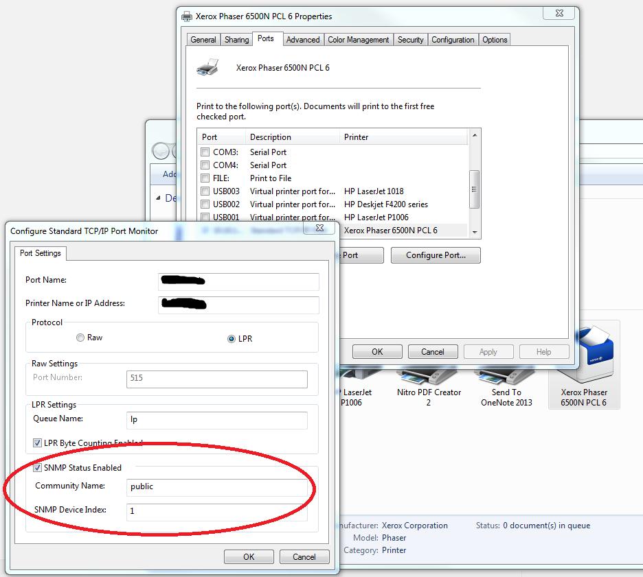 SNMP Printer Screen Shot