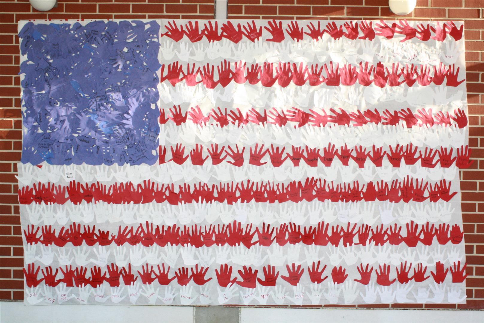 american flag made from student hand prints
