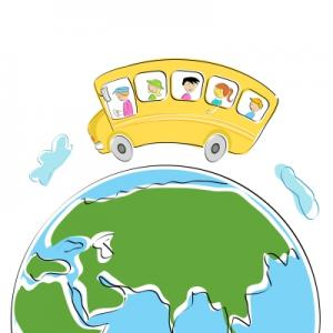 Yellow School Bus driving on a globe