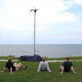 IVD Students wait while the wind-powered car Aedus recharges