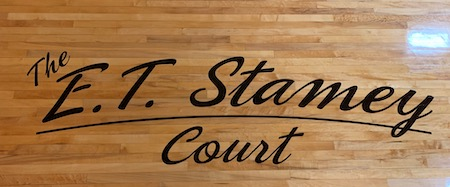 Lettering on court with name