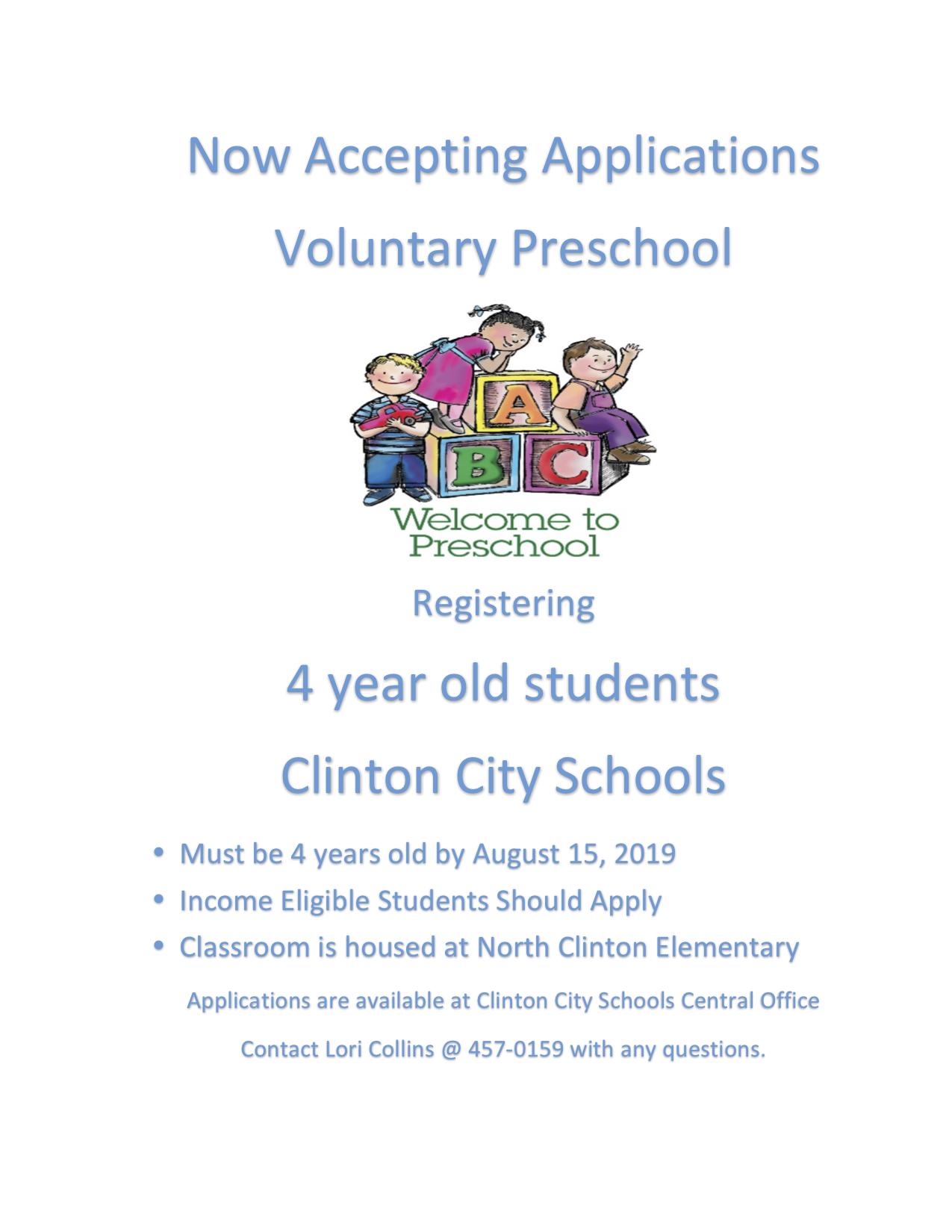 Now accepting Pre-Kindergarten Registration