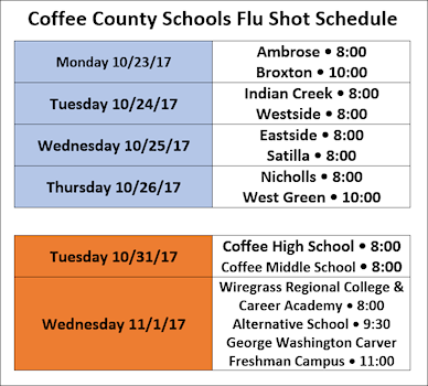 2017 Flu Shot Schedule