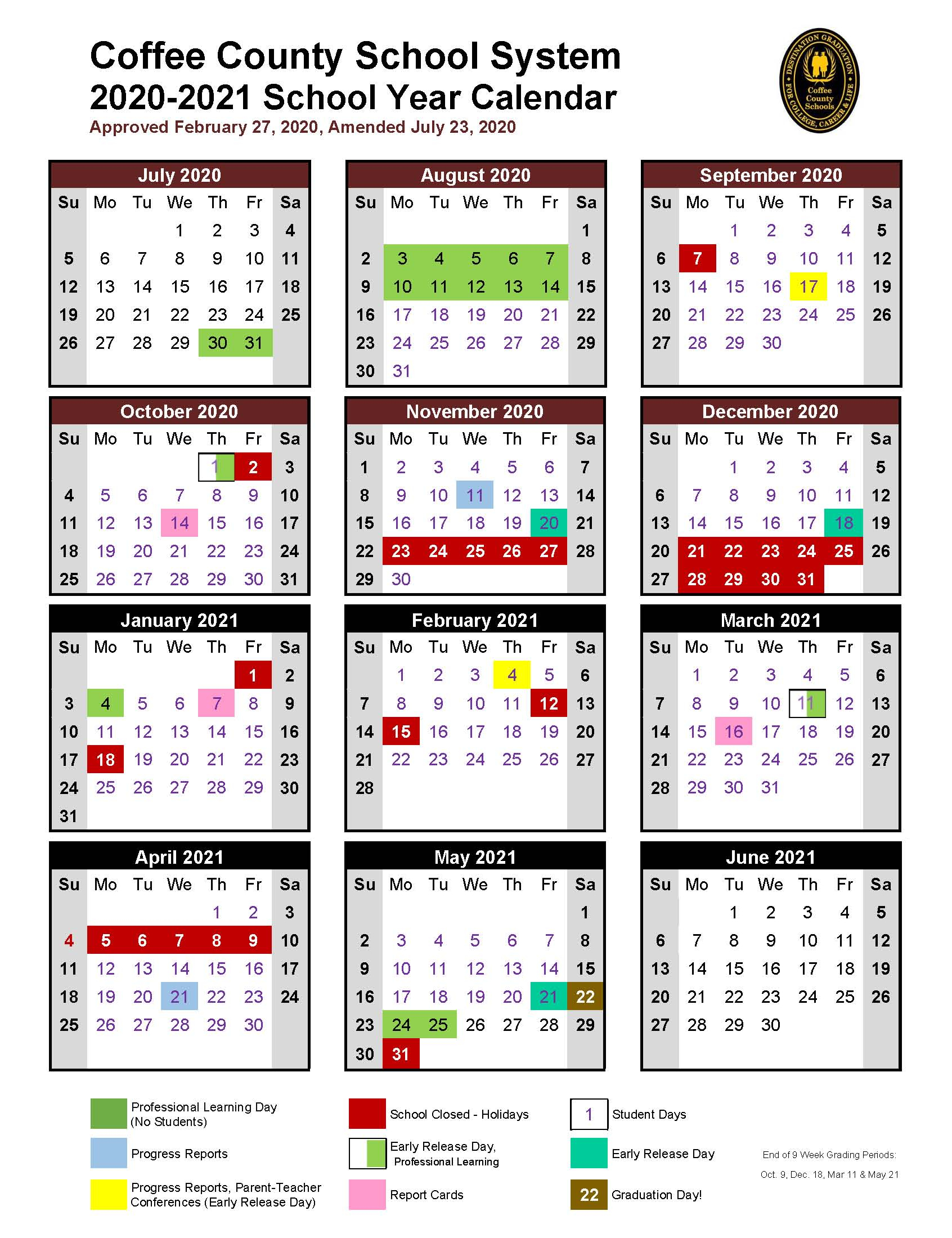 Coffee County School Calendar 2021-2022 Wallpaper