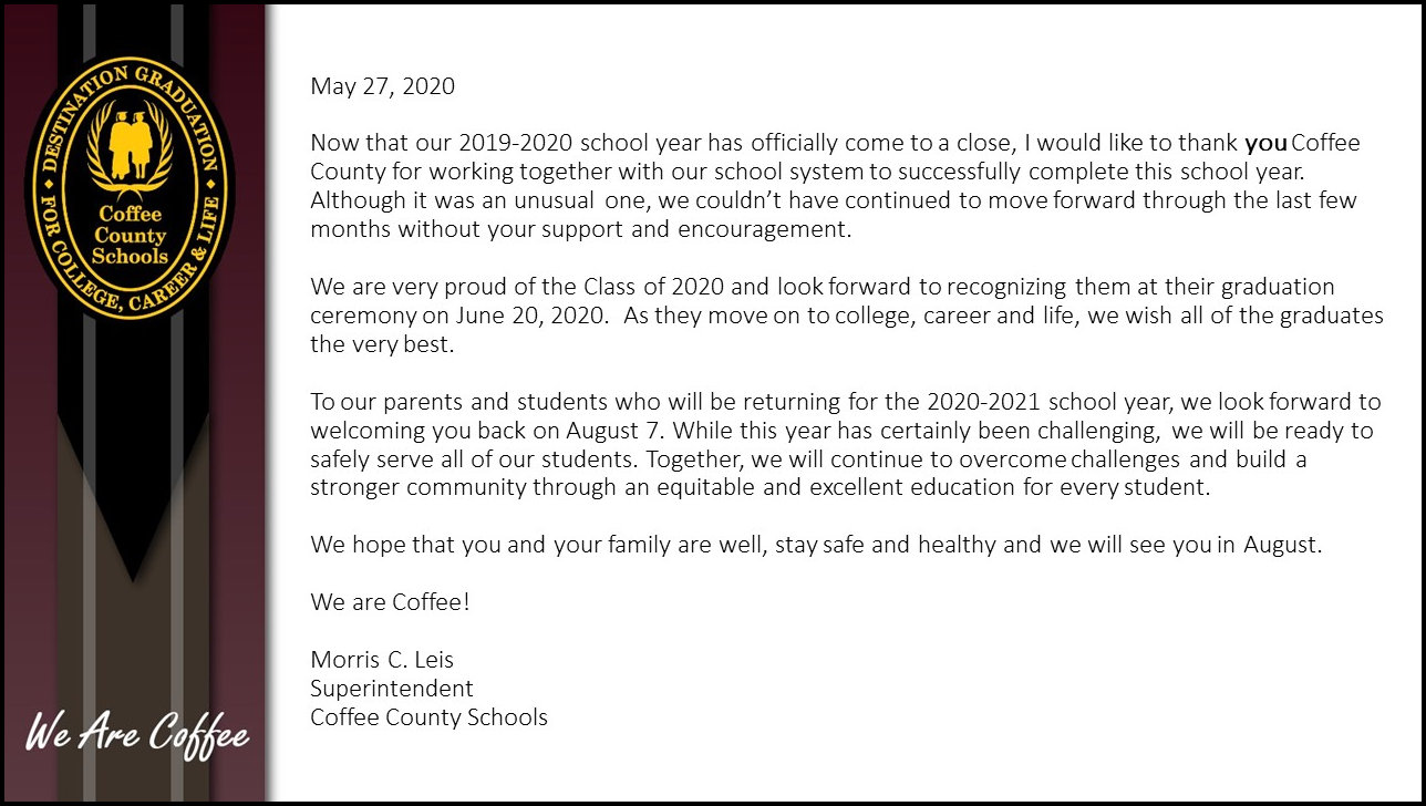 End of Year Note from the Superintendent