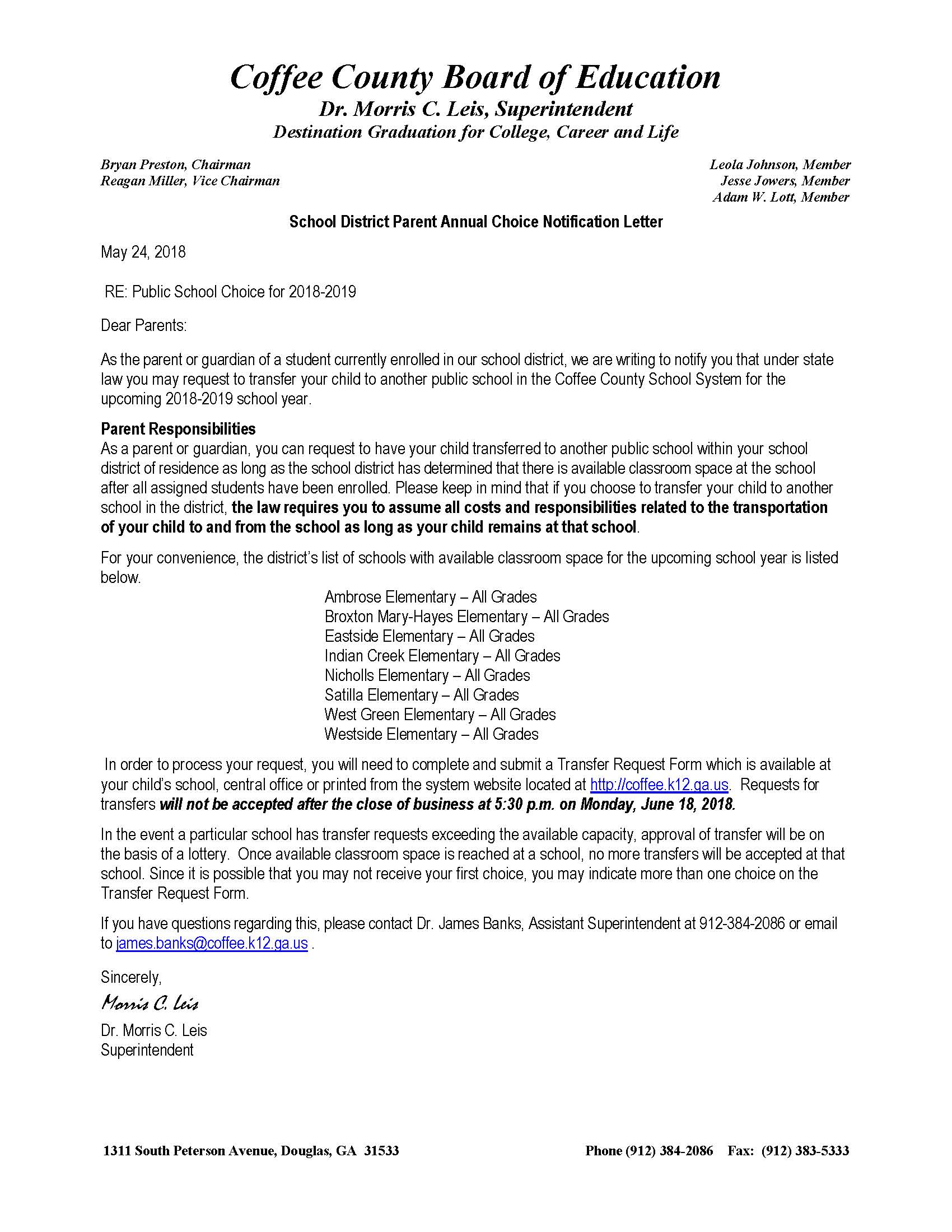 School Choice Notification Letter 2018