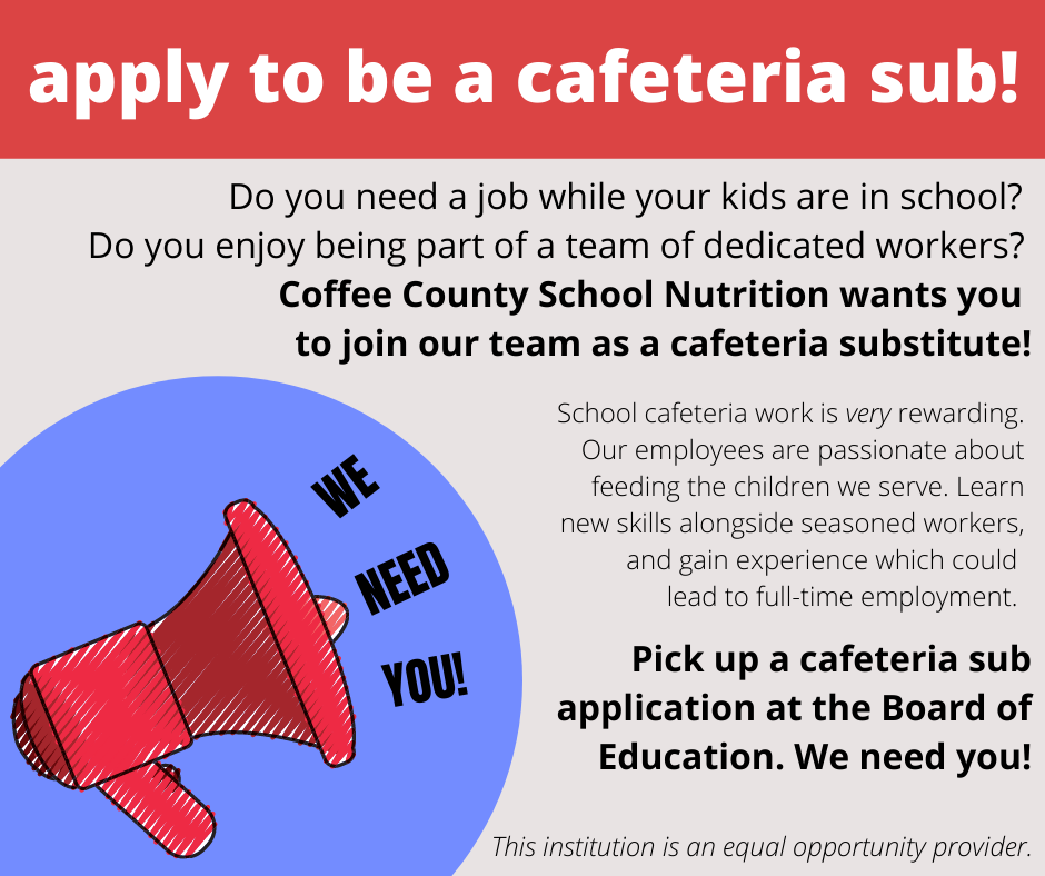 Apply to be a cafeteria sub!