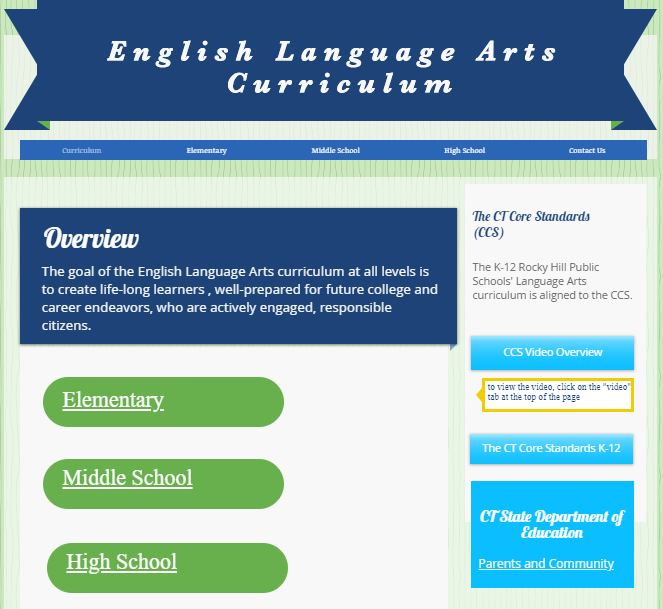 English Language Arts Curriculum Website Link