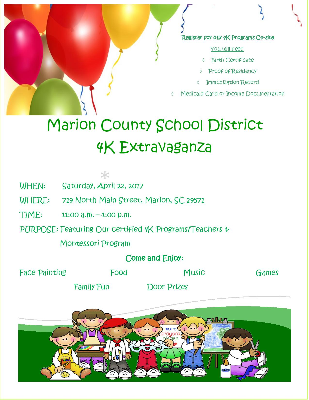 Flyer announcing 4K Extravaganza on April 22 from 11:00 to 1:00