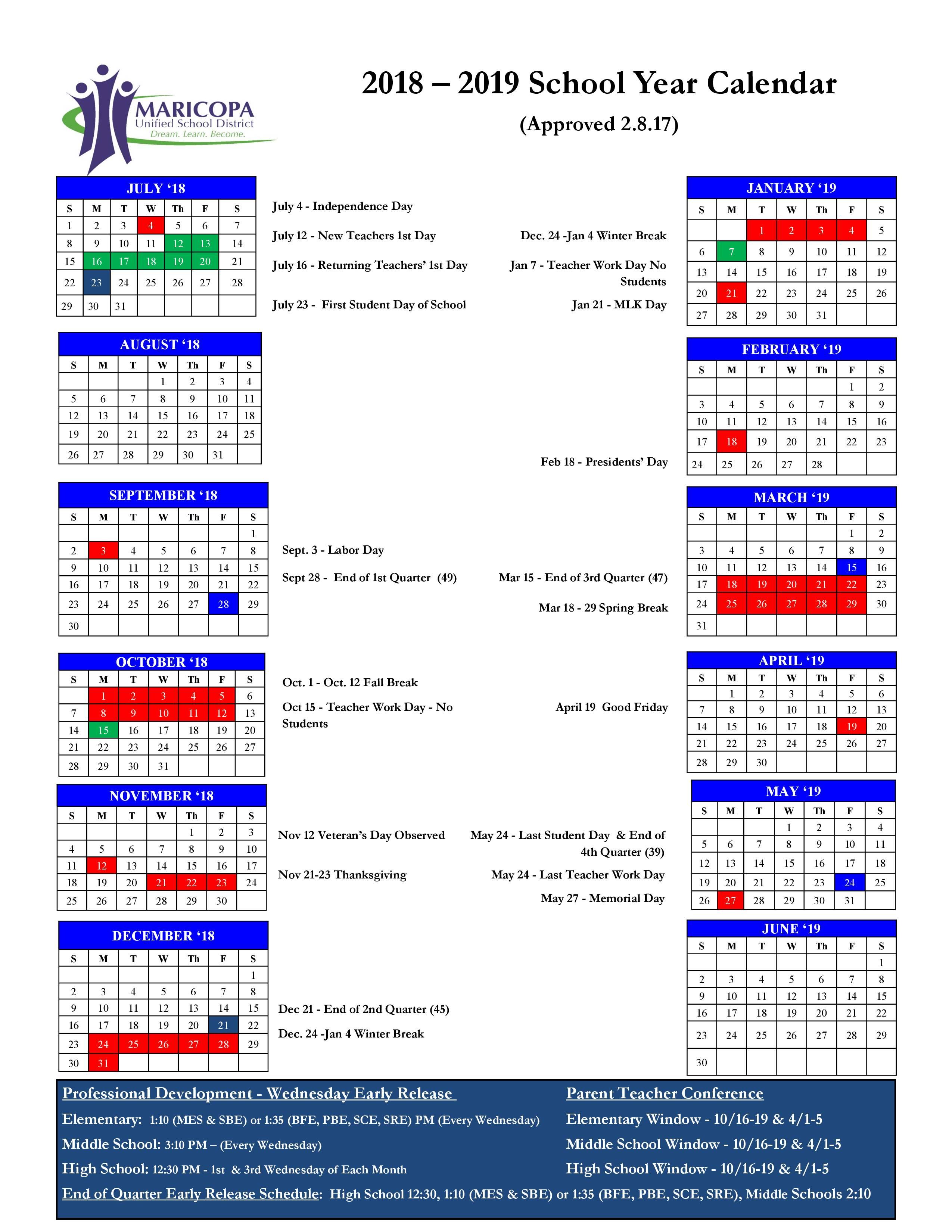 2018-19 Calendar