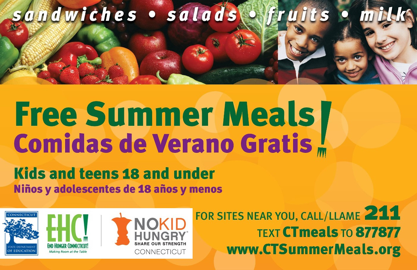 Graphic for CTMeals  Call 211 or text CTmeals to 877877