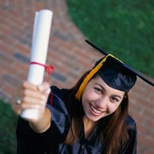 girl with diploma