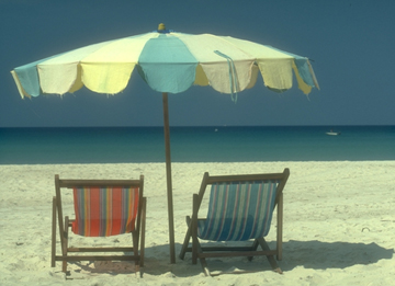 Umbrella and beach chairs