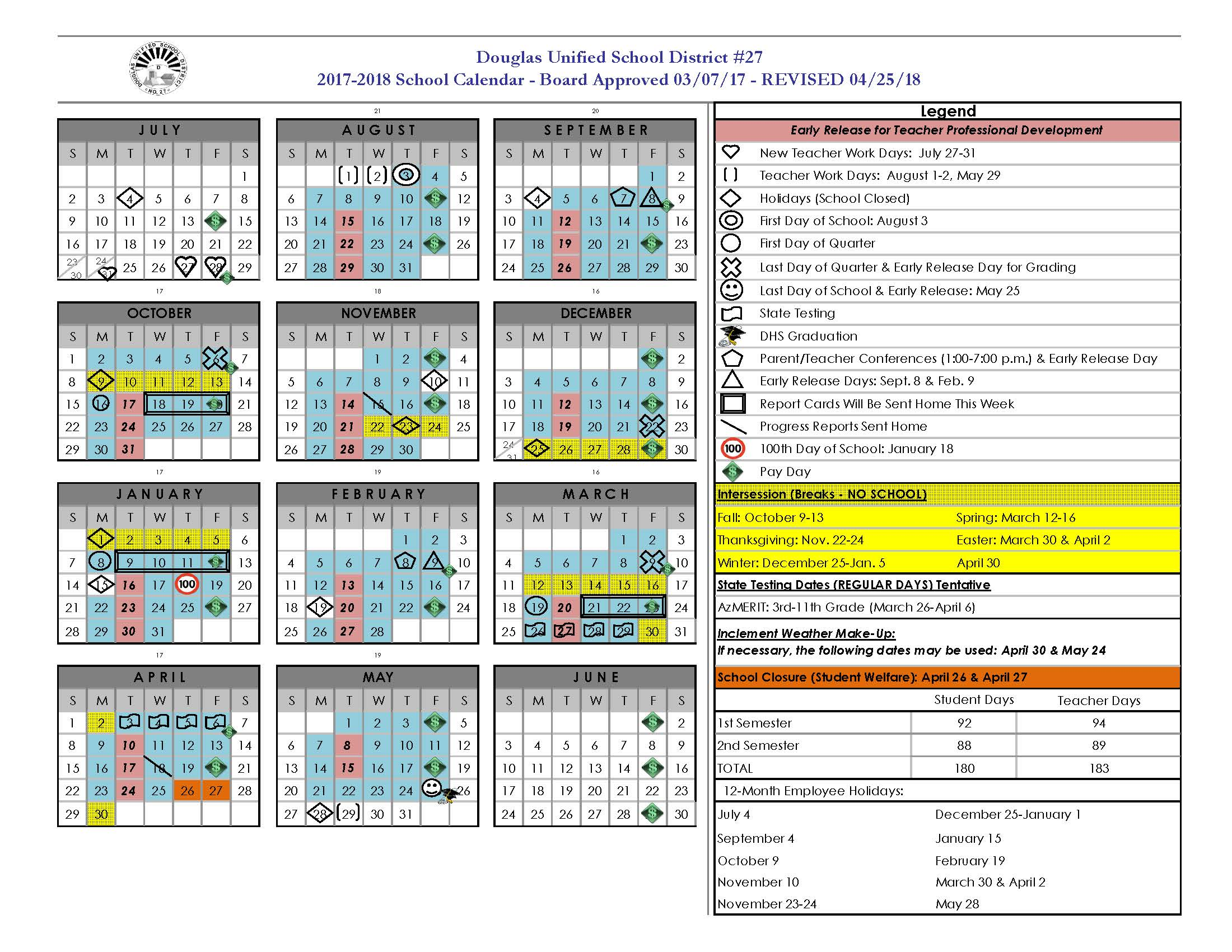 2017-2018 Revised Calendar