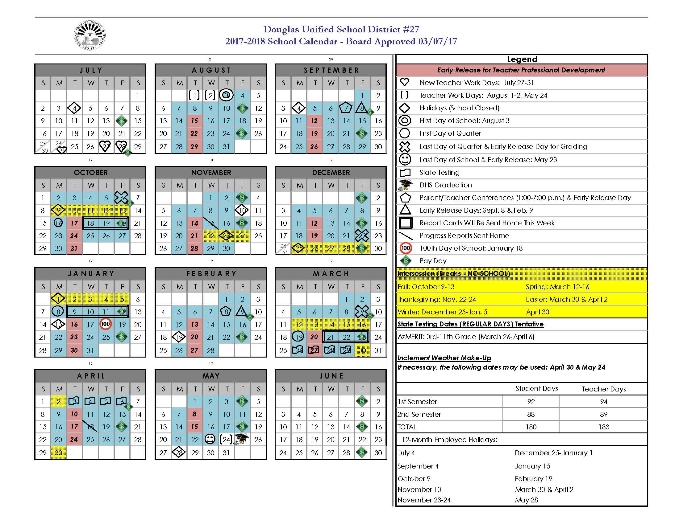 2017-2018 School Year Calendar