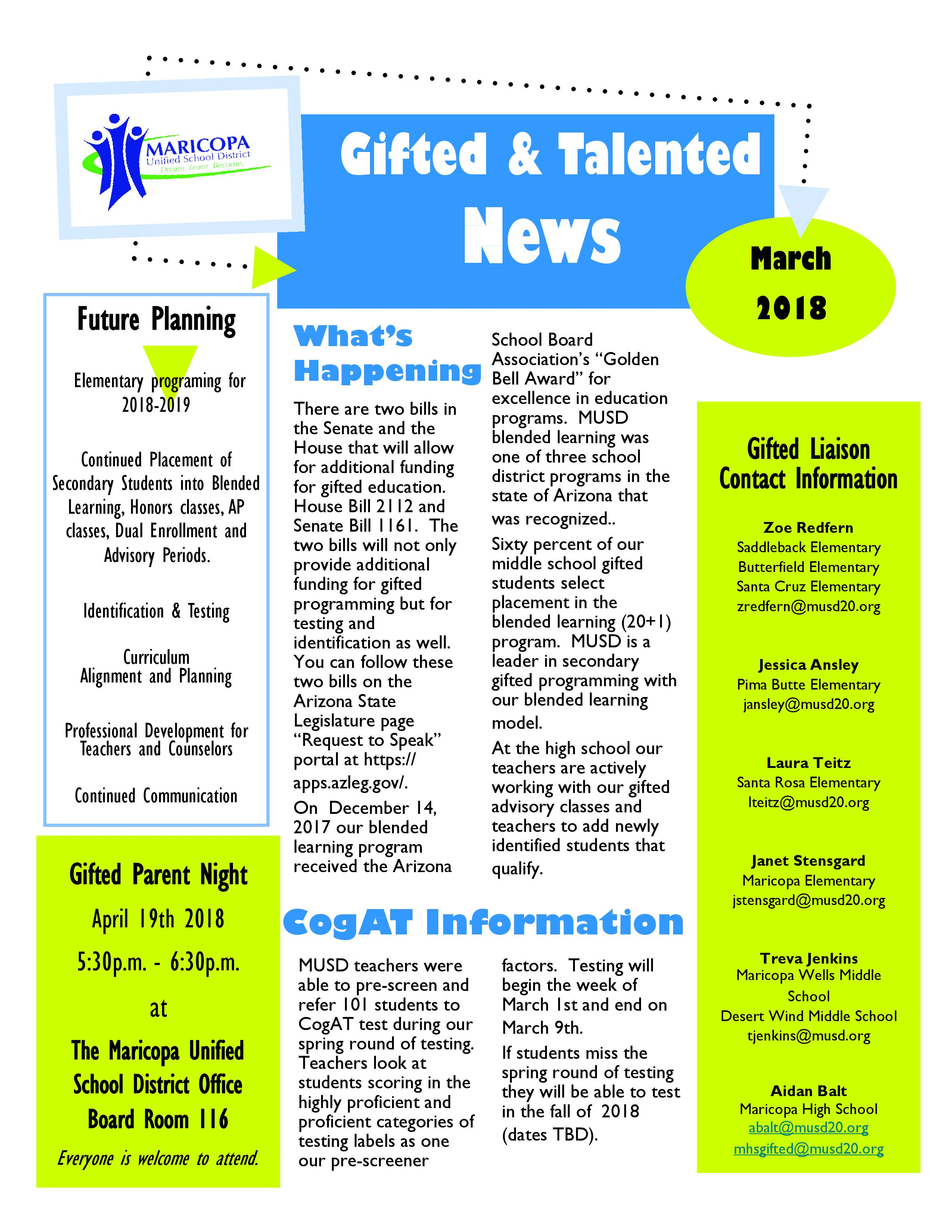 March 2018 Gifted Newsletter