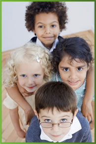 Image of several kids looking up