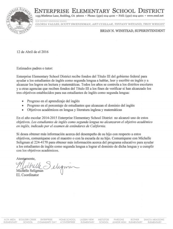 picture of Spanish version of AMAO Parent Notification letter