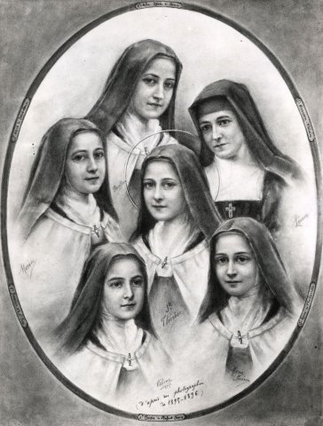 Drawing of Therese with her four sisters and her cousin Marie Guerin (daughter of Zelie's sister)