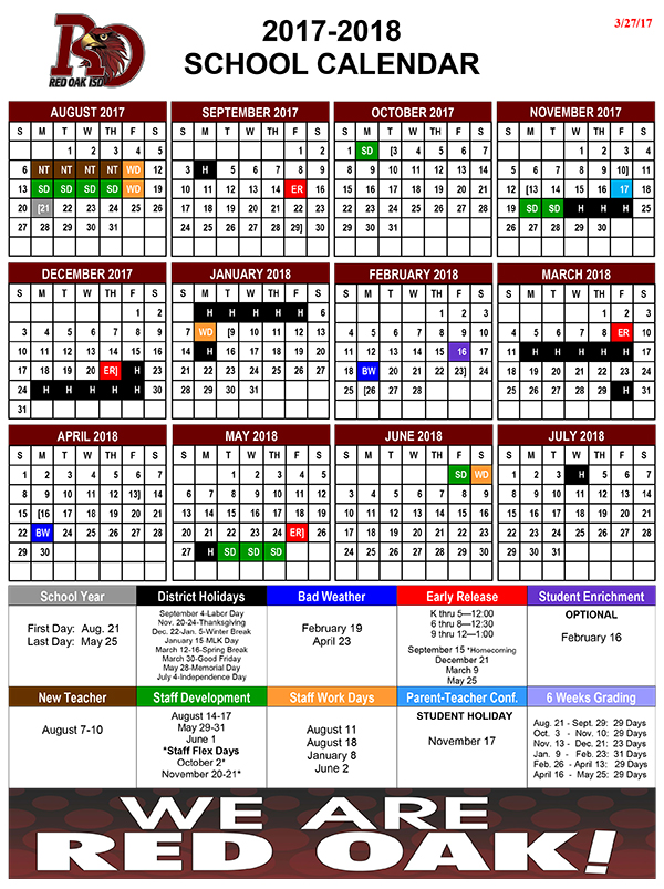 Red Oak Isd : 2017-2018 School Calendar
