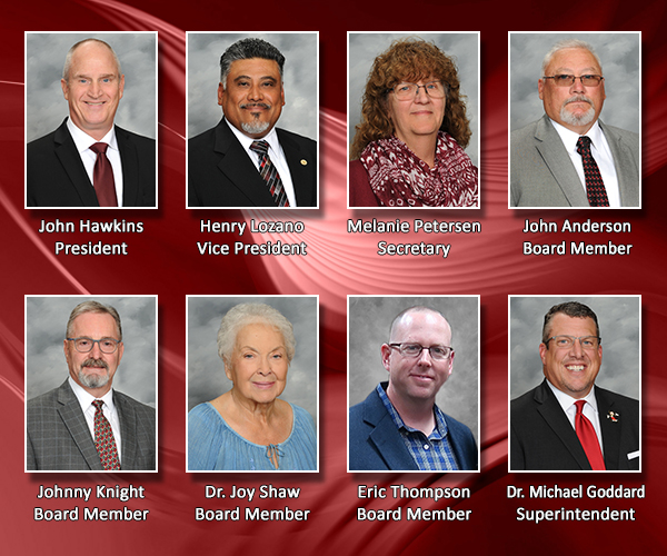 collage with each board member portrait and superintendent portrait