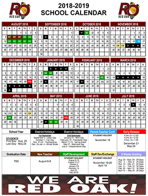 Annual School Calendar  Calendars  Red Oak Isd